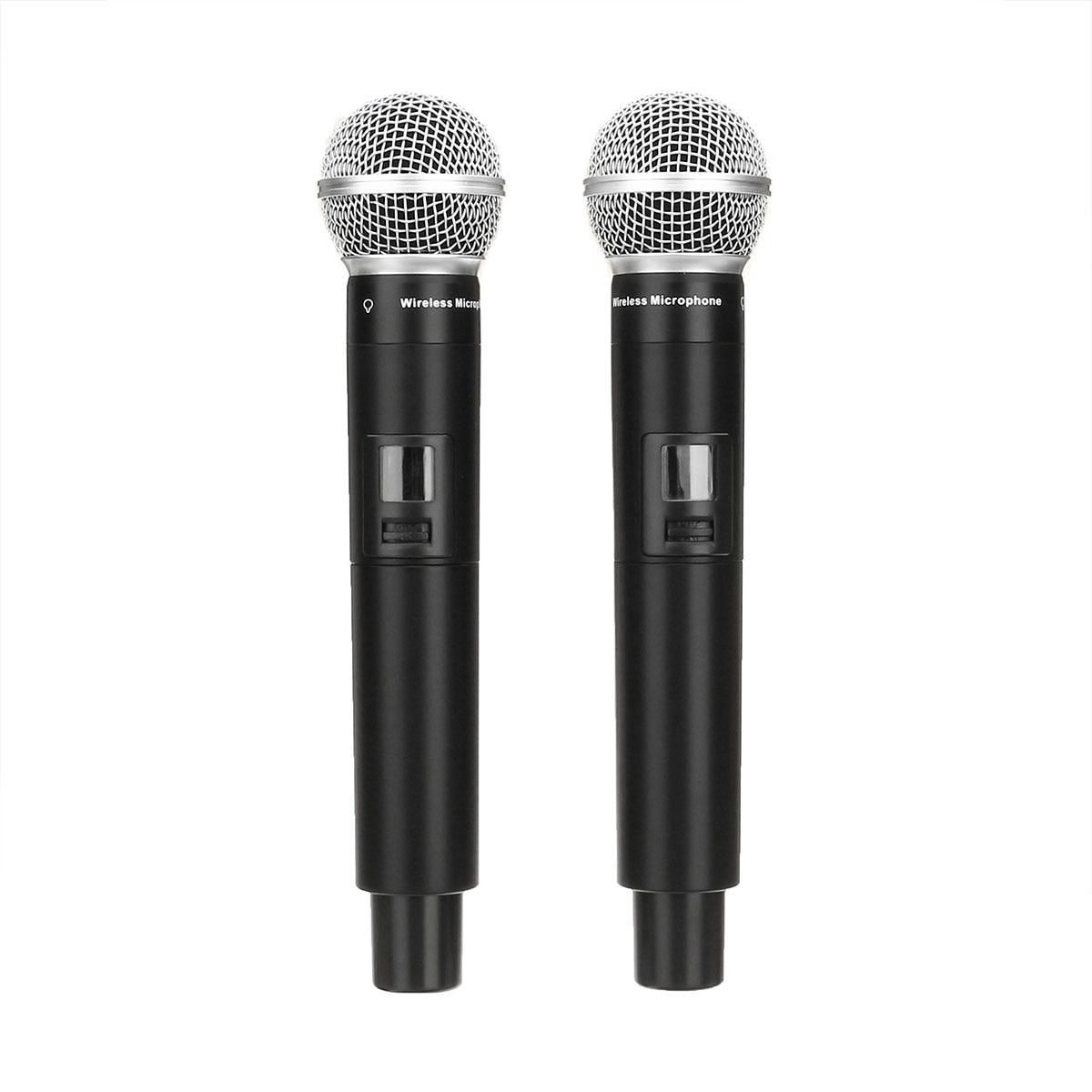 Système de Microphone sans fil UHF 2 canaux 2 micro portatif sans fil Kraoke fournitures de fête de la parole Microphone cardioïde professionnel - 4