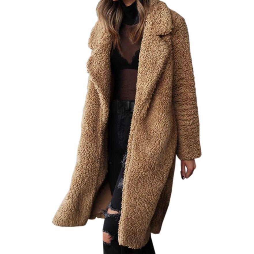 Long   Coats   Fleece Jackets Winter Warm   Coat   Cardigan Office Lady Sexy Women Wool Blends Full Tops Overcoats Plus Size
