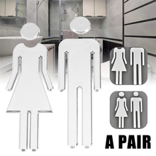 Adhesive MEN WOMEN Toilet Door Sign Bathroom Restroom WC for Sticker