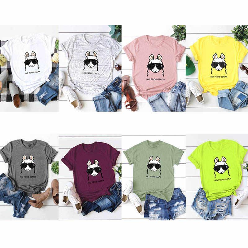 2019 летняя футболка женская без Prob Llama футболка с мультяшным принтом головы короткий рукав хлопок повседневные топы женские футболки Плюс Размер 5XL