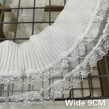 9CM Wide Double Layers Tulle White Pleated Guipure Lace Fabric Collar Elastic Ruffle Trim Ribbon Dress Skirt Sewing Tassel Decor asymmetric ruffle trim ditsy skirt