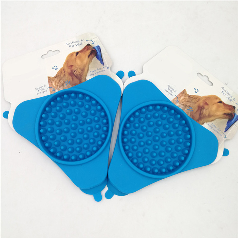 Blue Portable Fixed Suction Dog Lick Pad Cup Bowl Transfer Plate Dog Slow Feeder Silicone Pet Bath Products