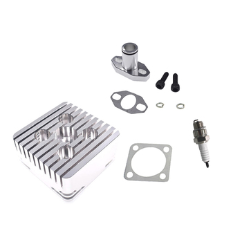 Silver Square CNC Cylinder Head Intake Pipe For 66cc 80cc 2 Stroke Motorized Bke