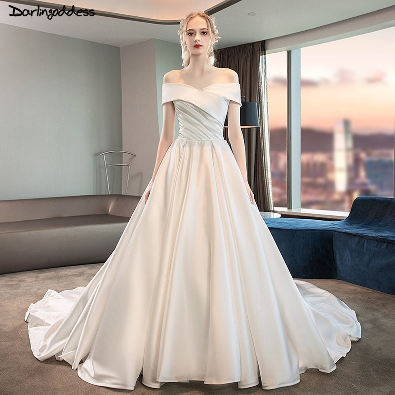 US $136.8 40% OFF|Simple A Line Stain Wedding Dress 2018 Short Sleeve Long  Train Wedding Dresses Plus Size Corset Wedding Gowns Real Photos-in Wedding  ...