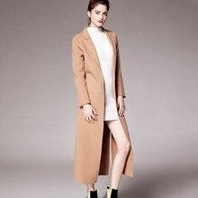 Благородная элегантная парка ручной работы Новое двустороннее шерстяное пальто женское модное длинное шерстяное пальто большого размера зимняя куртка женская Ls233