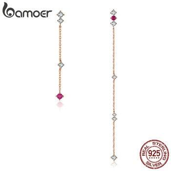 578a8afd4b1f BAMOER de plata esterlina pendientes de cadena larga de lujo Zircon cúbico  cuadrado geométrico pendientes para las mujeres lindo coreano BSE071
