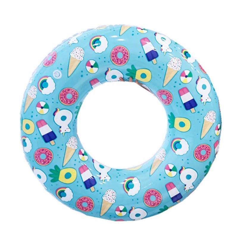 Cartoon Print Inflatable Adult Kids Swimming Ring Pool Float Armpit Circle Beach Kids Float Boat PNLO
