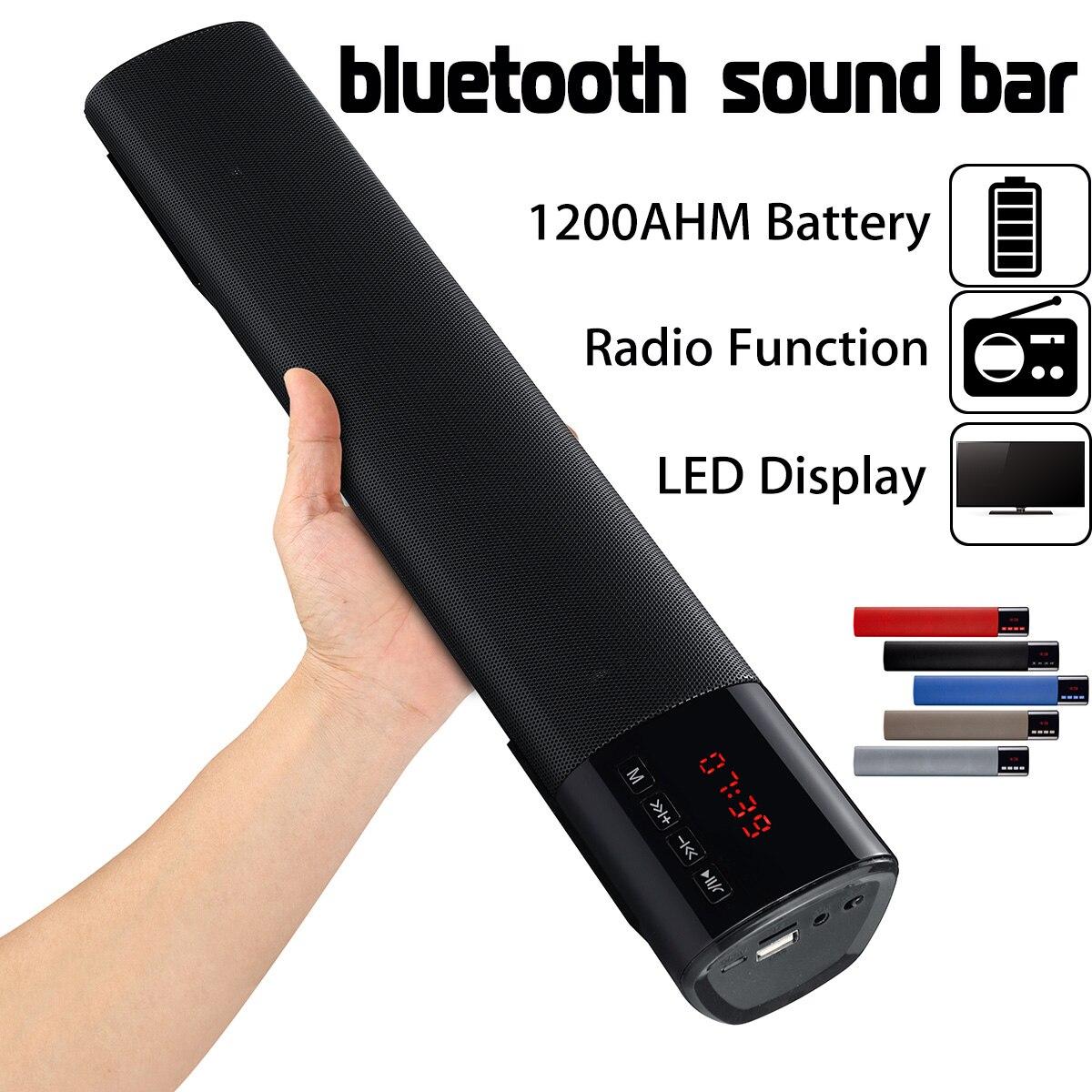 100% Quality 10w Hifi Portable Led Bluetooth Speaker Soundbar Tf Fm Usb Clock Wireless 3d Subwoofer Column For Pc Computer Tv Phone Home Easy To Repair