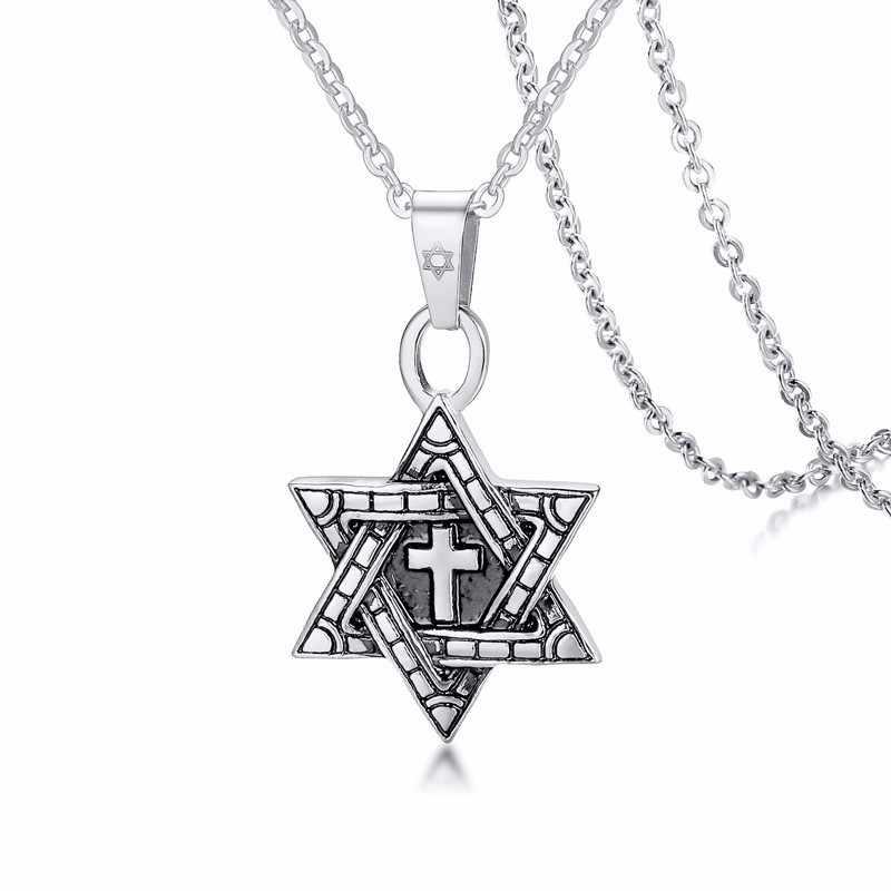 ユダヤ人のジュエリーミーガン · クロススターデビッドのペンダントネックレス男性ステンレス鋼シルバートーン