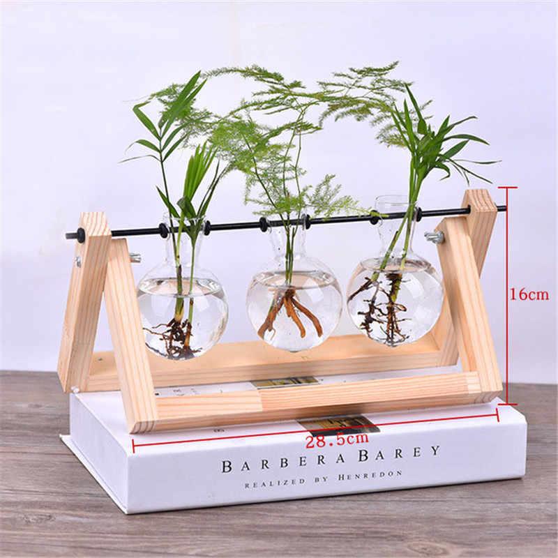 Креативный деревянный стенд стеклянный террариум контейнер Гидропоника цветочный горшок для выращивания растений настольная ваза DIY домашний офисный, Свадебный декор