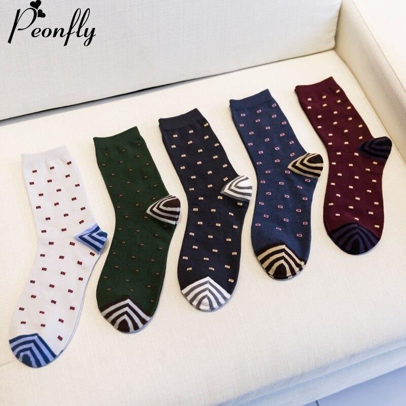 Fashion Mens Cotton Socks Colorful Jacquard Art Socks Hit Color Dot Long Happy Socks Men's Dress Sock 5pairs/lot