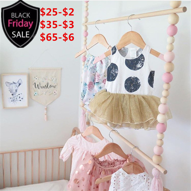 Ins Size 110x70cm Wooden Print Clothes Hanger Clothing Rack Shelf Kids Room Baby On Wall Decorative Frame Home Cabinets