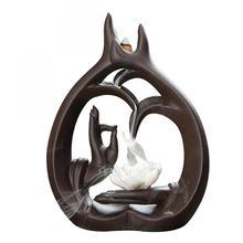Bergamot Incense Burner Buddha Hand Backflow Ceramic Incense Burner Holder Buddhist Sandalwood Cones Holder For Teahouse Yoga