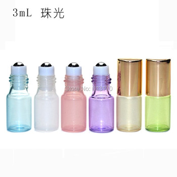 Roller Bottles Cosmetic Packing Roll On Gold Metal 3ml Glass Pearl White,pearl Green,pearl Pink,pearl Yellow,pearl Purple,whit фото