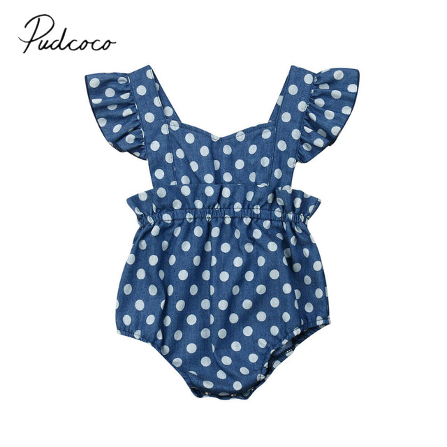 0bcd3b0a1990 2019 Children Summer Clothing 0-18M Newborn Infant Kids Baby Girl Bodysuit  Dot Blue Sleeveless Jumpsuit Cotton Outfits Clothes