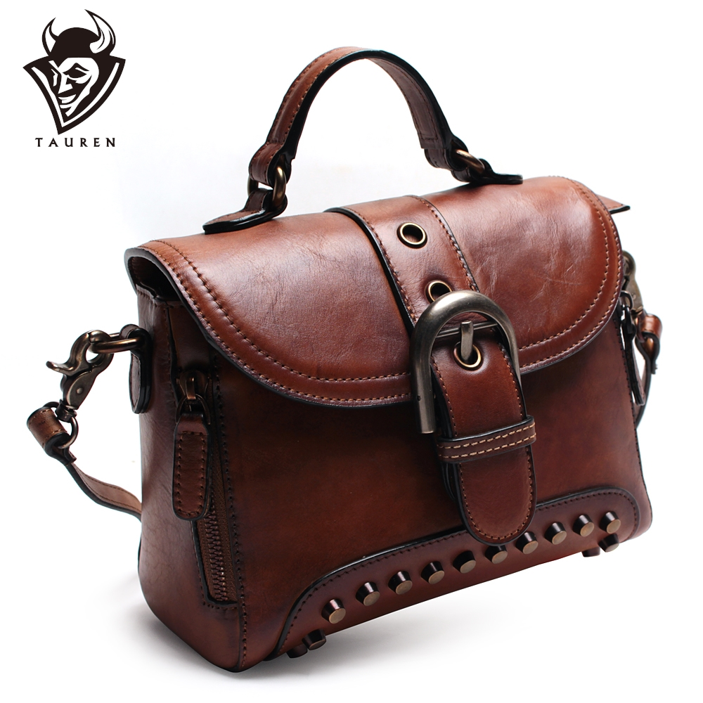 Handmade Genuine Leather New Retro Rivet Handbag Vintage Real Cowhide Shoulder Bag Ladies Messenger Bag