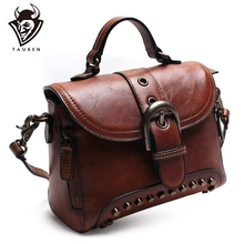 Handmade Genuine Leather New Retro Rivet Handbag Vintage Real Cowhide Shoulder Bag Ladies Messenger