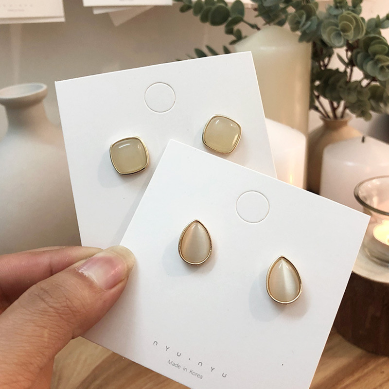 2019 Korea New Vintage Acrylic Opal Baroque Geometric Waterdrop Square Small Stud Earrings For Women Girl Party Accessories in Stud Earrings from Jewelry Accessories