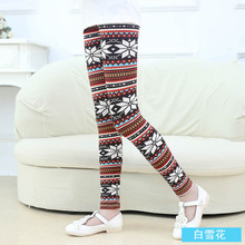 Childrens clothing girls pants spring and autumn models new print leggings in the big childrens 2-12 years