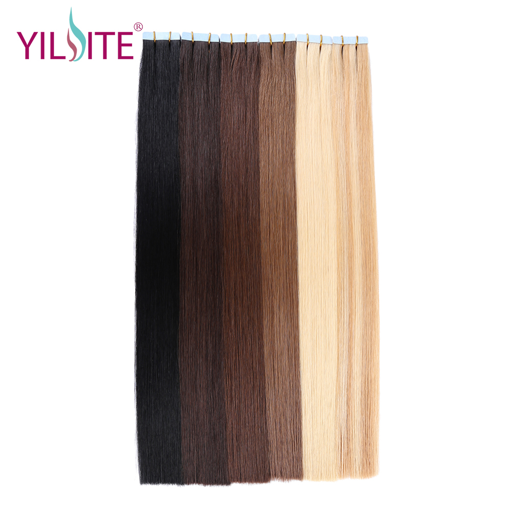 """Yilite 100% European Natural Straight 20"""" Non Remy Hair Extension, Medium Brown Color Tape In Human Hair Extensions #6 20pcs(China)"""