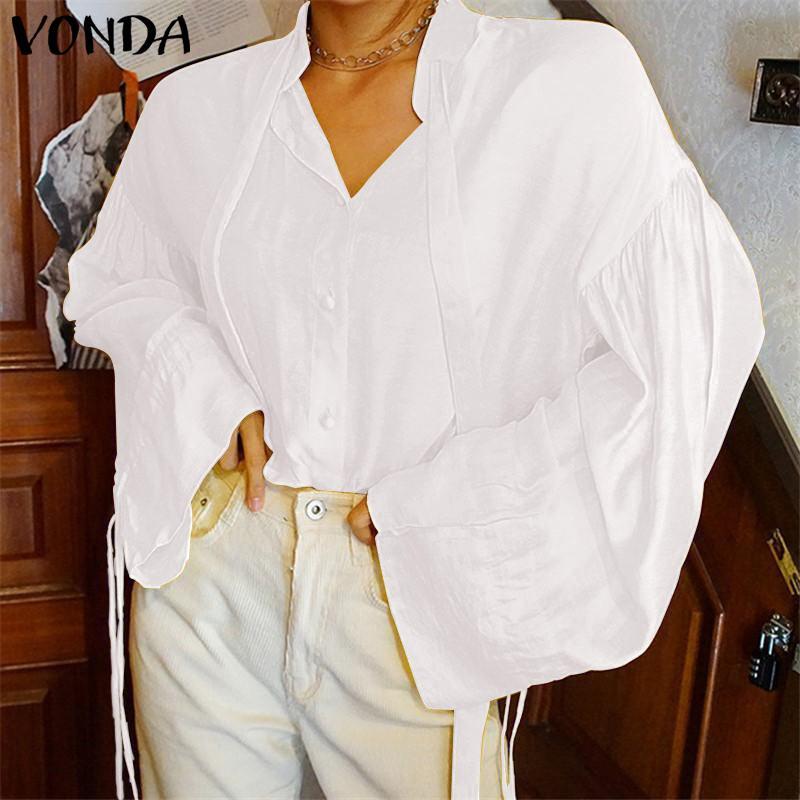 VONDA Women   Blouses     Shirts   2019 Summer Ladies Sexy Elegant V Neck White   Blouse   Female Tops Casual Loose Blusa Feminina Plus Size