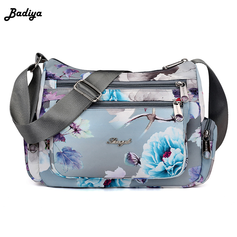 Flower Print Messenger Bags Handbag Waterproof Nylon Crossbody Bags For Women Designer Ladies Shoulder Bag Handbags Carteira