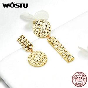 Image 2 - WOSTU Trendy Women Earrings 2019 Individual Geometric Gold Round Stud Earrings For Women 925 Sterling Silver Jewelry Gift CQE533