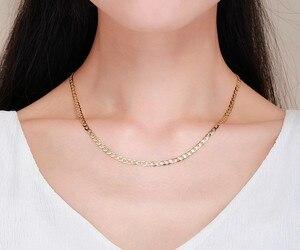 Image 2 - 45cm 80cm 4mm Dünne 925 Sterling Silber W/ Gold Farbe Curb Kette Link Halsketten Frauen männer Schmuck Collares Kolye Collier Halskette