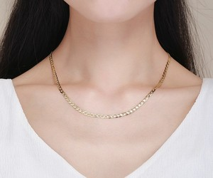 Image 2 - 45cm 80cm 4mm Slim 925 Sterling Silver W/ Gold Color Curb Chain Link Necklaces Women Men Jewelry Collares Kolye Collier Ketting