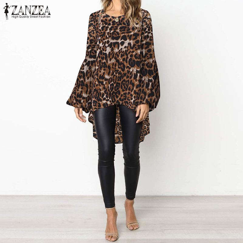Leopard   Blouse   ZANZEA 2019 Summer Printed Chic Tunic Top Women Casual Lantern Sleeve Irrugular Loose Party   Shirt   Blusas Femme