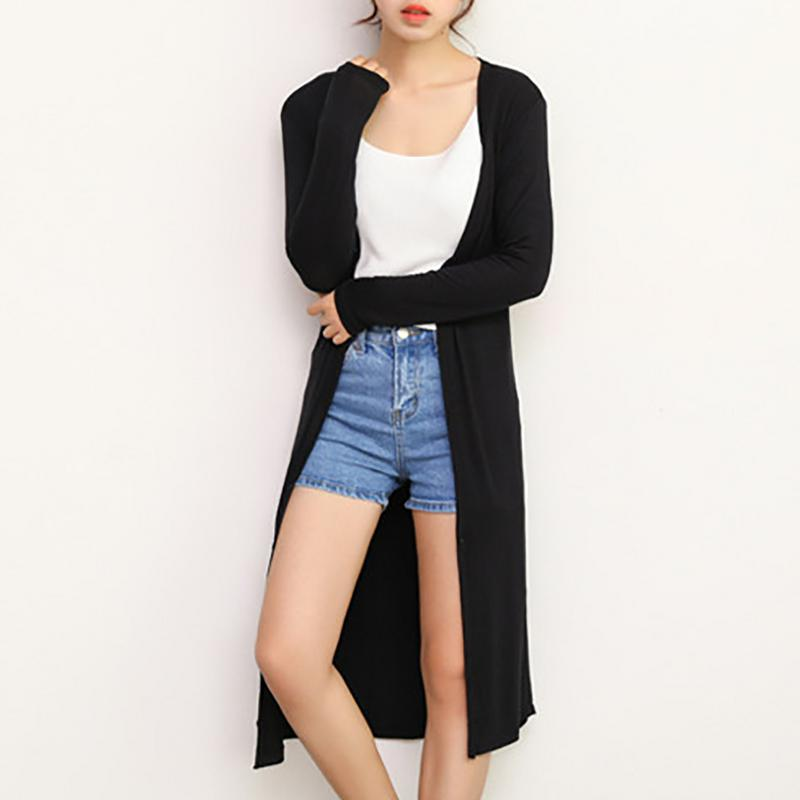 Women's Casual Long Modal Cotton Soft Comfortable Strong Dangling Simple Color All Year Round Free Size Loose Thin Cardigan