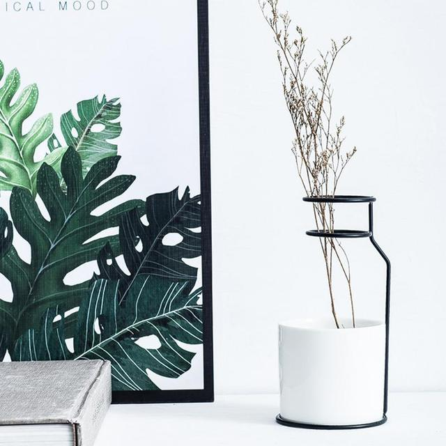 1Set Nordic Simple Style Marble Pattern White Ceramic Iron Art Vase Flower Pot Home Wedding Living Room Decoration Accessories 3