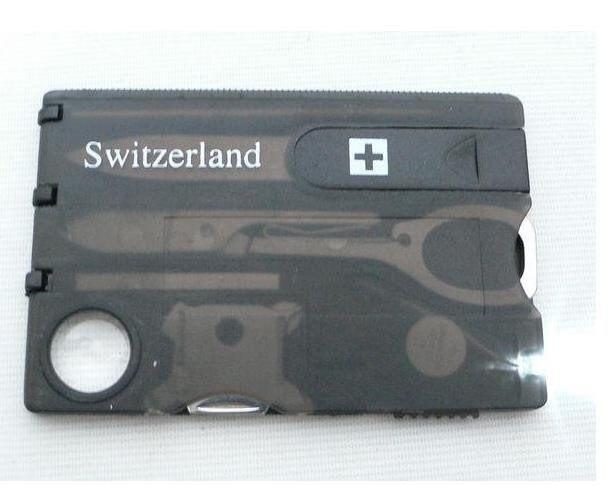 12 IN 1 Multifunction Credit Card Tool Knife Pocket Wallet Business Card Knife Scissors LED Light