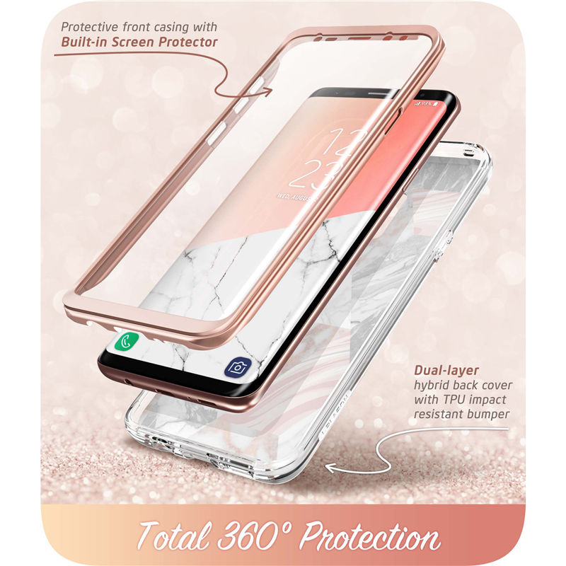 Image 4 - Cover For Samsung Galaxy S9 Case i Blason Cosmo Full Body Glitter Marble Bumper Protective Cover with Built in Screen ProtectorFitted Cases   -