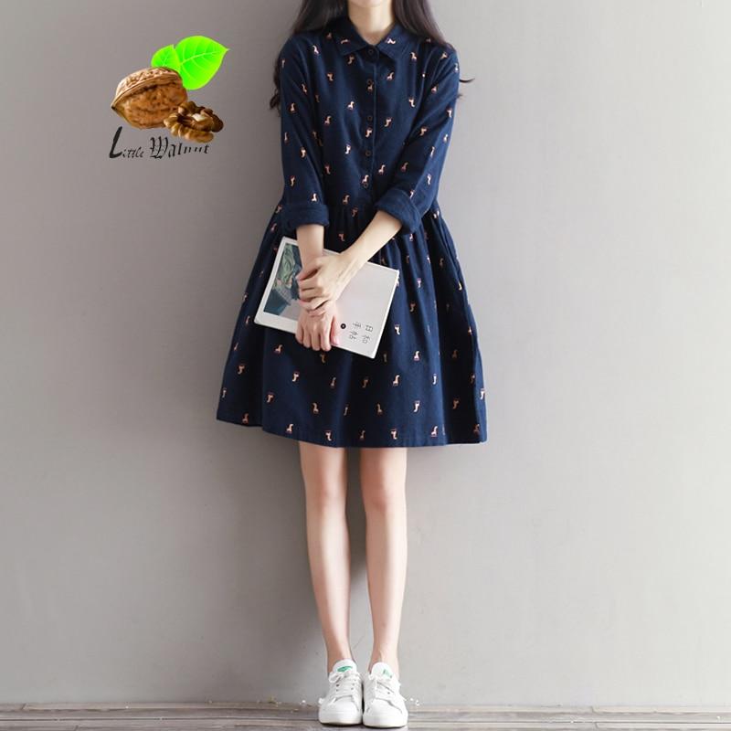 2019 women vintage cotton cashmere casual dress long sleeve cotton sanded basic dresses one piece women