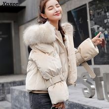 Woman Winter Jacket Coat 2018 Hooded Fur Collar Cotton Padded Jacket Short Hood Slim Parkas Plus Size Thicken Female Outerwear стоимость