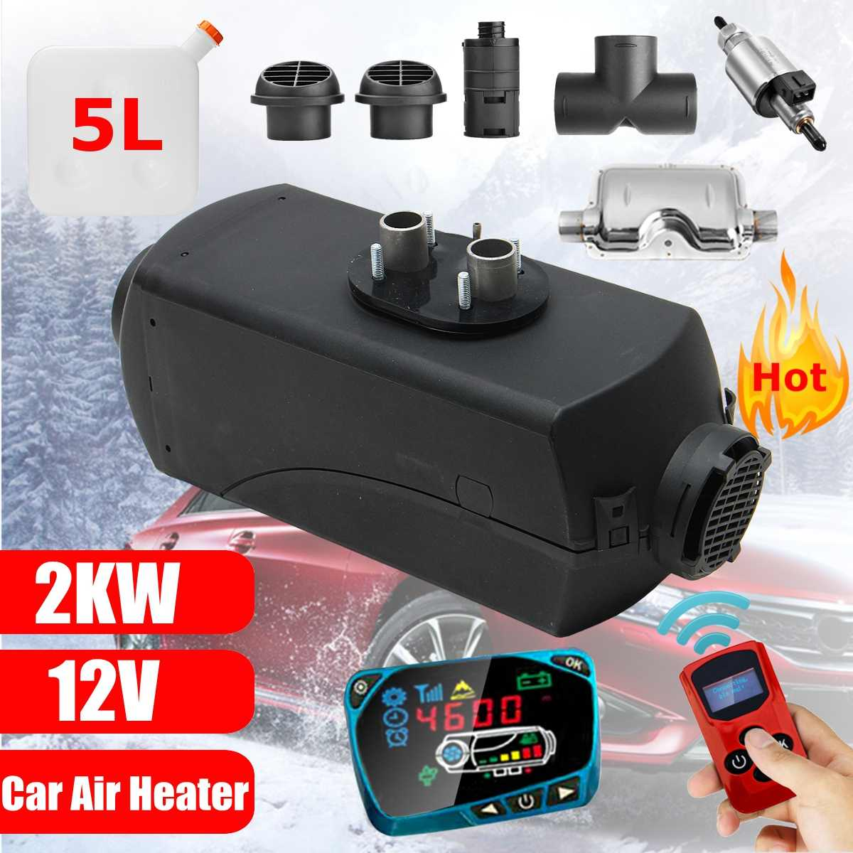 Boats Car Heater Air Diesels Heater Parking,5KW 12V With Remote Control LCD Monitor for RV Trucks Motorhome Trailer