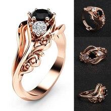 1PC Engagement Wedding Zircon Inlaid With Hollow Flower Bride Black Rhinestone Rose Golden Ring Valentines Gift Size 6 7 8 9 10 недорого