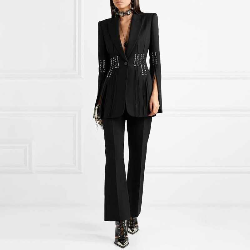 TWOTWINSTYLE primavera Casual mujer Blazer solapa manga larga botón vendaje Split Delgado negro mujer abrigo 2019 ropa de moda