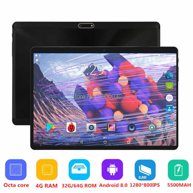 Free shipping 10 inch Tablet PC Octa Core 4GB RAM 64GB ROM Dual SIM Cards Android 8.0 GPS 3G 4G FDD LTE Tablet PC 10 10.1 Pad