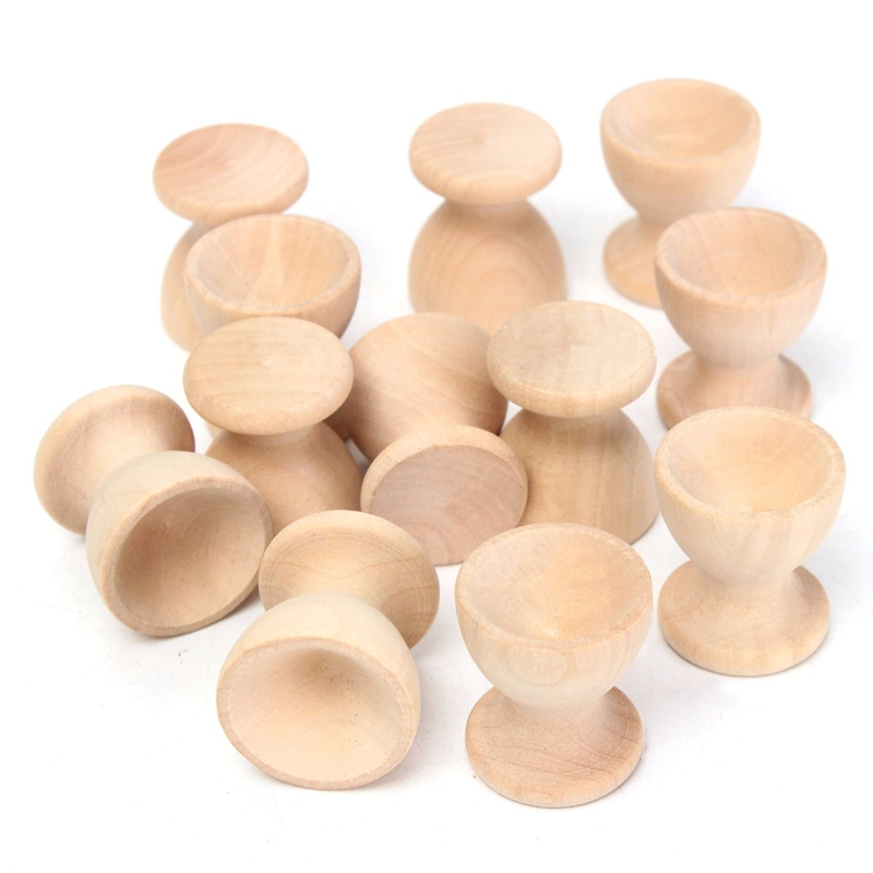 12Pcs Wooden Egg Rack Home Kitchen Eggs Holding Cup Desktop Refrigerator Egg Tray Container Timber Storage Rack