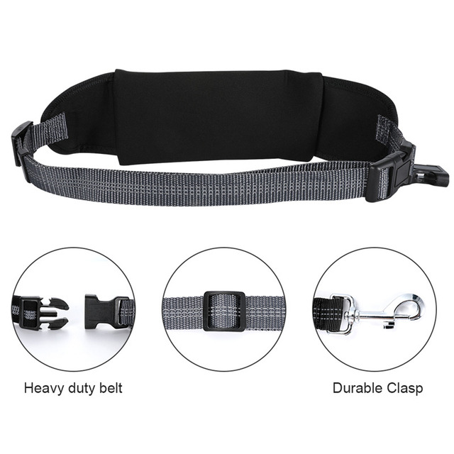 Nylon Dog Running Leash Hands Free Walking Show Lead Leash For Small Medium Dog Puppy Cat Pet With Retractable Bungee Waist Belt 2