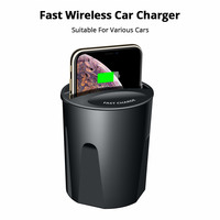 10W Fast Qi Wireless Car Charger For iPhone X XS Max XR 8 Car Wireless Charger Cup Holder For Samsung Galaxy S9 S8 S7 S6 Xiaomi