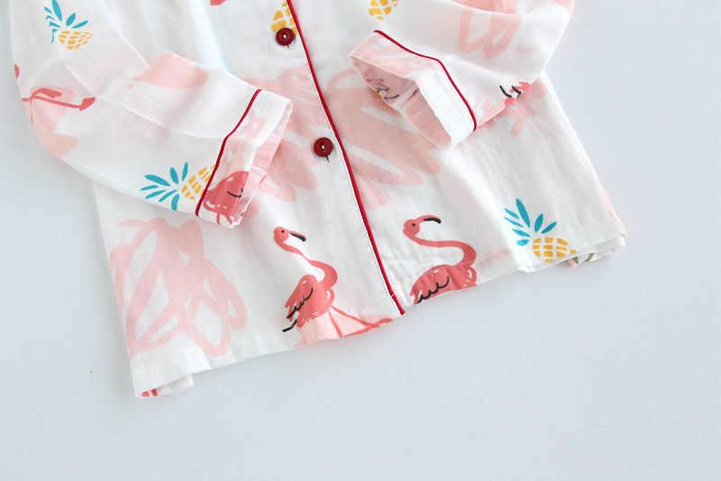 ... QWEEK Хлопковые женские пижамы с принтом Фламинго пижамы для женщин  осень длинный рукав пижама Femme модный 1a9e63f147366