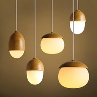 Modern Imitation Wood Pendant Lights Nordic Hanging Metal Lamp Creative Round Circular Luminaire Kitchen Cafe Bar Vintage E27