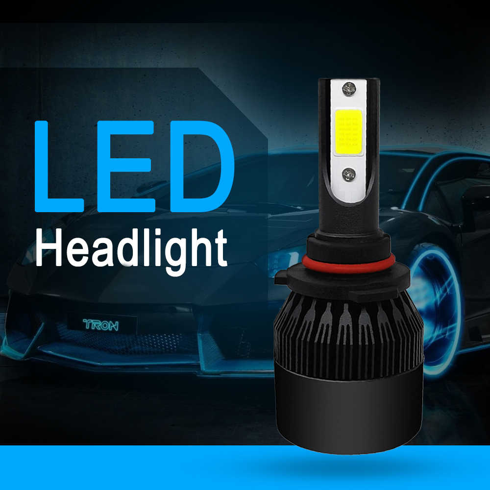 1PCS COB 9006 9005 H1 H11 H4 9004 H7 HB4 C6 72W 8000LM LED Car Headlight Kit Turbo Light Bulbs 6000K Black