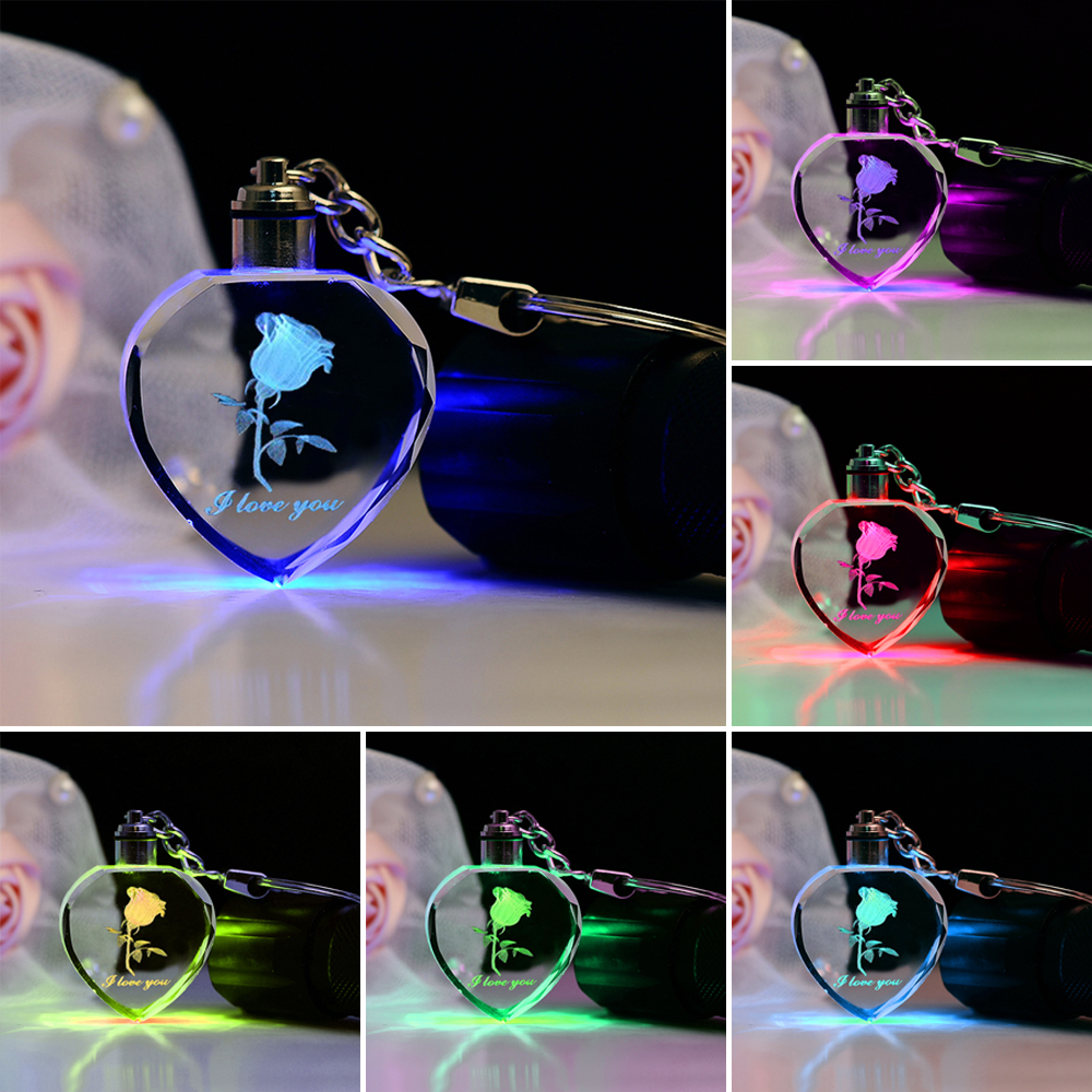 Fairy Crystal Rose LED Light Keychain Love Heart Key Chain Ring Keyring For Valentine S Day