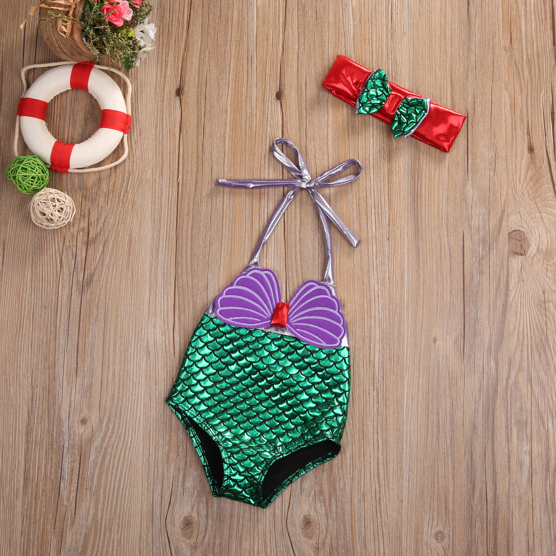 2018 Little Girls One-piece Mermaid Halter Swimsuit Baby Girl Cartoon Beachwear Bathing Suit Swimwear Swimmers Costume
