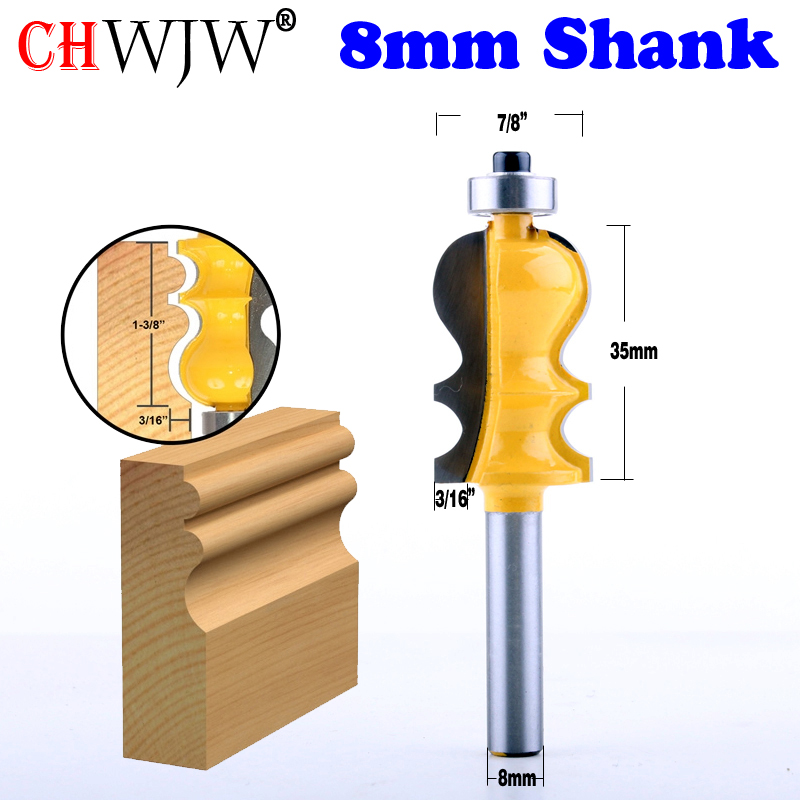 1PC 8mm Shank Casing & Base Molding Router Bit  Line Knife Woodworking Cutter Tenon Cutter For Woodworking Tools