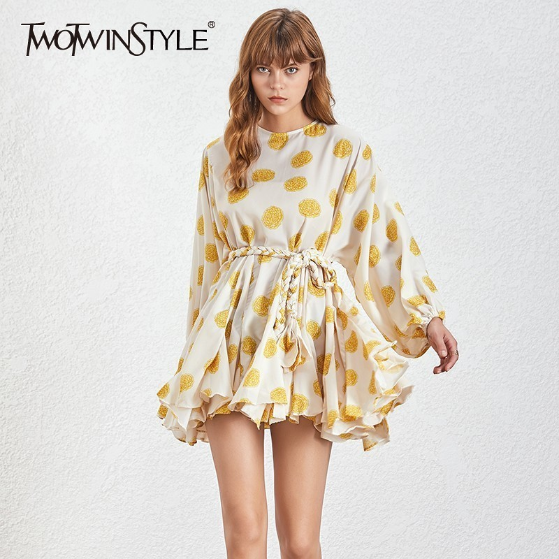TWOTWINSTYLE Hit Color Print Dresses Women Long Sleeve O Neck High Waist Lace Up Female Dress